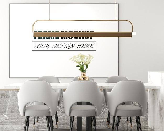 Moderne woonkamer met fotolijst als mockup met hoogtepunten Premium Psd