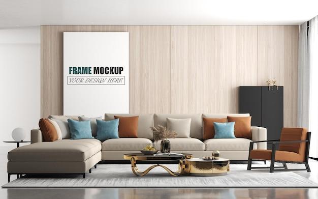 Moderne woonkamer met groot bankframe-model Premium Psd