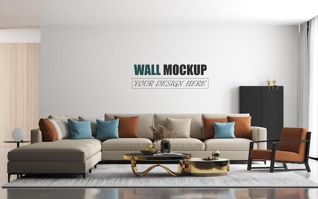 Moderne woonkamer met groot bankmuurmodel Premium Psd