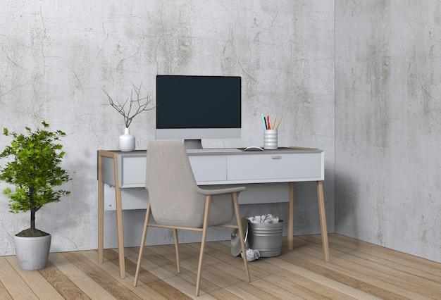 Moderne woonkamer werkruimte met bureau en desktop computer Premium Psd