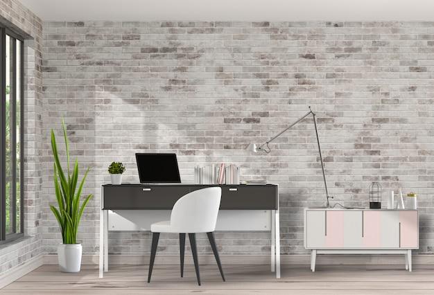 Moderne woonkamer werkruimte met bureau en laptop computer Premium Psd