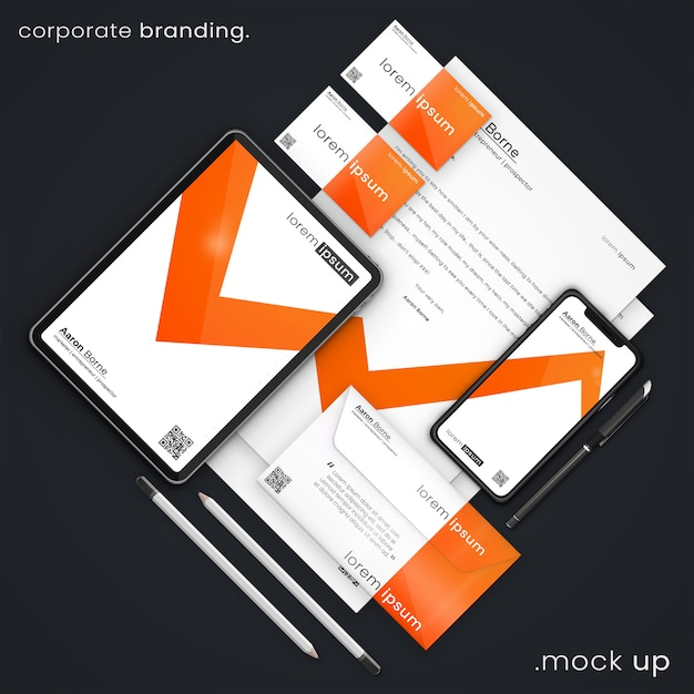 Moderne zakelijke briefpapier mockup van visitekaartjes, apple iphone x, apple ipad, a4 brieven, envelop, pen en potloden, corporate branding psd mock up Premium Psd