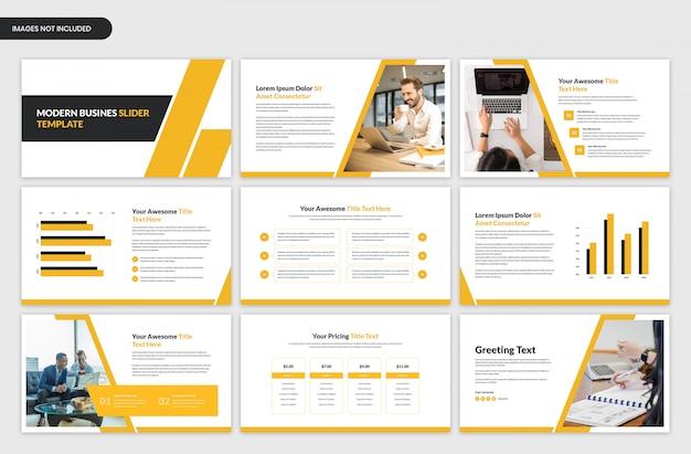 Moderne zakelijke presentatie gele schuif sjabloon Premium Psd