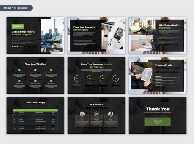 Moderne zakelijke startup en zakelijke presentatiesjabloon Premium Psd