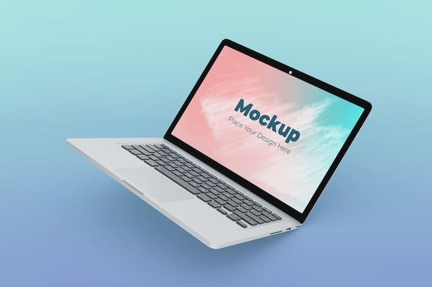 Moderne zwevende laptop mockup ontwerpsjabloon van hoge kwaliteit Premium Psd