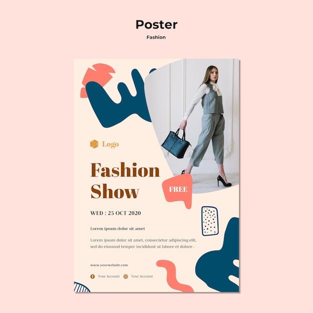 Modeshow poster sjabloon Gratis Psd