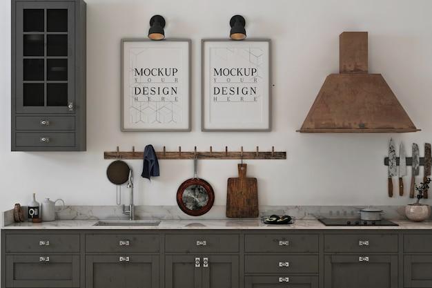 Monochrome keuken met frame fotomodel Premium Psd