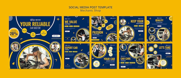 Monteur winkel sociale media post-sjabloon Premium Psd