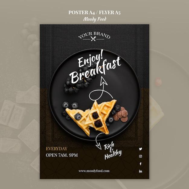 Moody cibo ristorante poster concetto mock-up Psd Gratuite