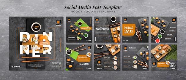 Moody food restaurant redes sociales PSD gratuito