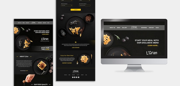 Moody food restaurant website template Gratis Psd