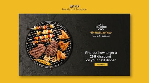 Moody grill sjabloon voor spandoek Gratis Psd
