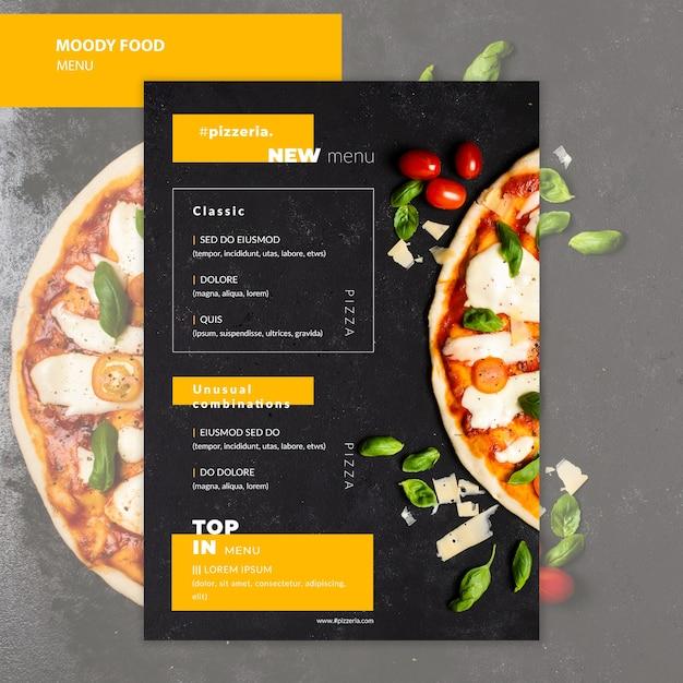 Moody de menú de comida de restaurante moody PSD gratuito
