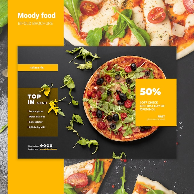 Moody restaurant eten tweevoudige brochure mock-up Gratis Psd
