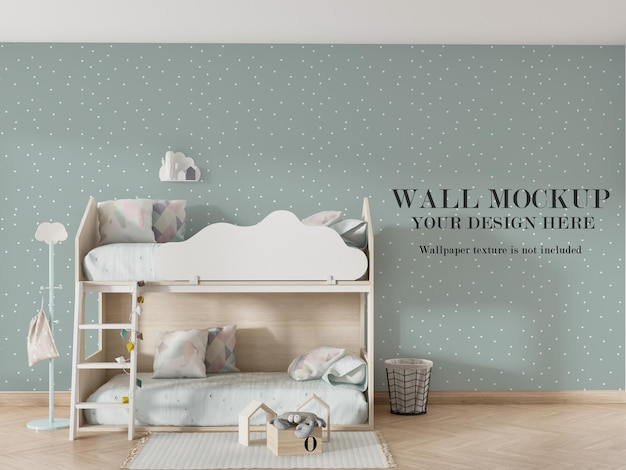 Mooi mockup-ontwerp voor de muur achter een stapelbed Premium Psd