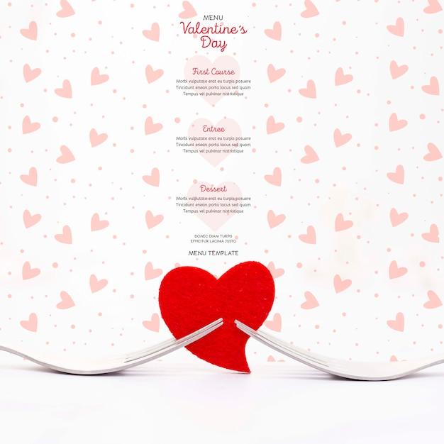 Mooi valentijnsdagmenu Gratis Psd