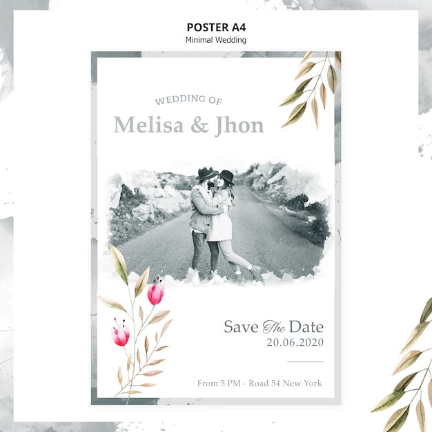 Mooie bruiloft uitnodiging poster Gratis Psd