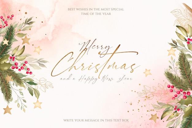 Mooie kerst achtergrond met aquarel aard Gratis Psd