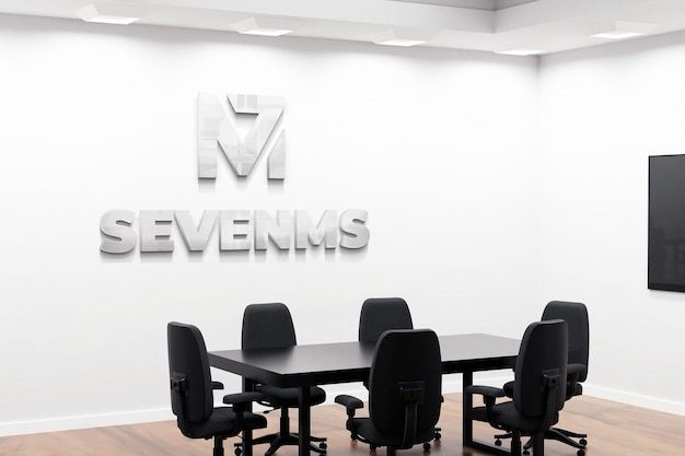 Mooie logo mockup office-vergaderruimte Premium Psd