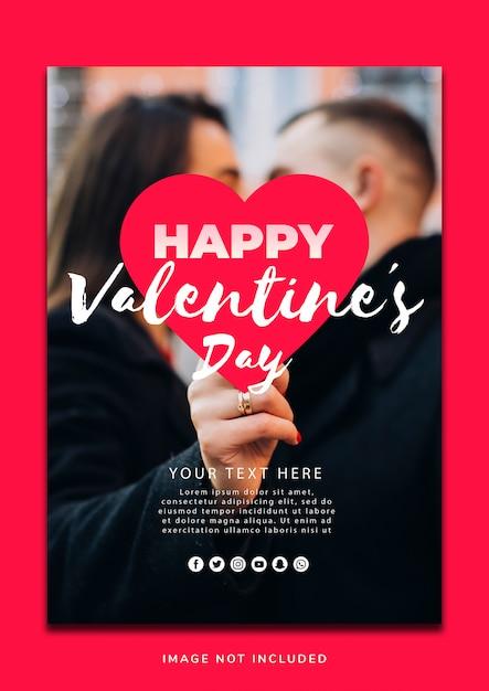 Mooie valentine's day poster sjabloon Gratis Psd