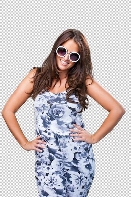 Mooie vrouw die zonnebril draagt Premium Psd
