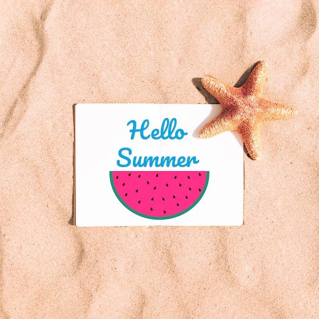 Mooie zomer mockup met watermeloen Gratis Psd