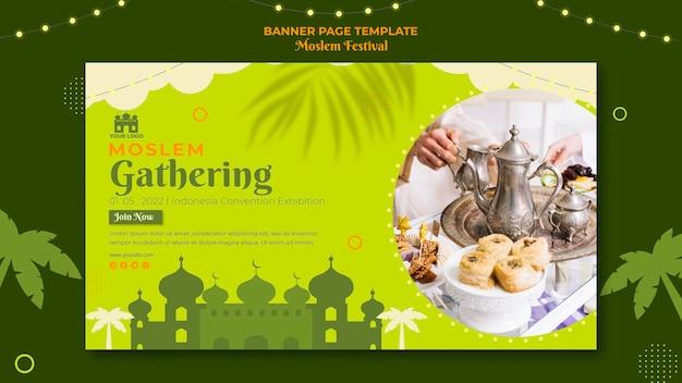Moslim verzamelen banner websjabloon Gratis Psd