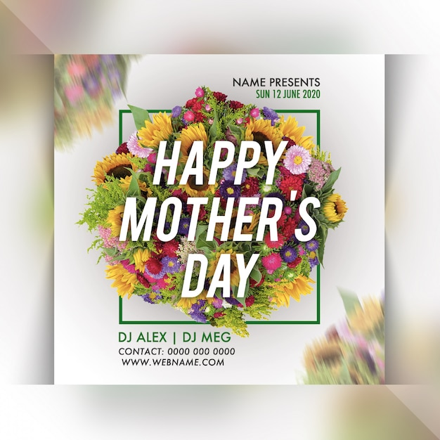 Mothers day party flyer sjabloon Premium Psd