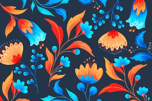 Motivo floreale ornamentale con fiori romantici Psd Gratuite