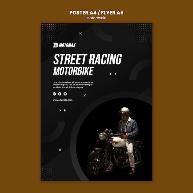 Motorfiets concept flyer ontwerpen Gratis Psd