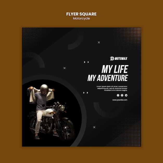 Motorfiets concept flyer vierkant Gratis Psd