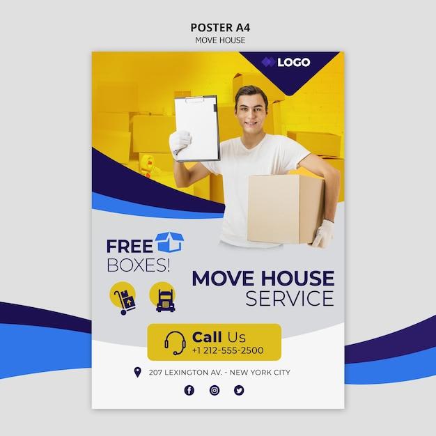 Mover folleto de plantilla de negocio de casa PSD gratuito