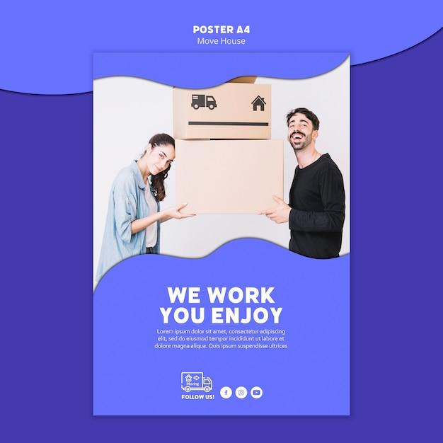 Mover plantilla de póster de casa PSD gratuito