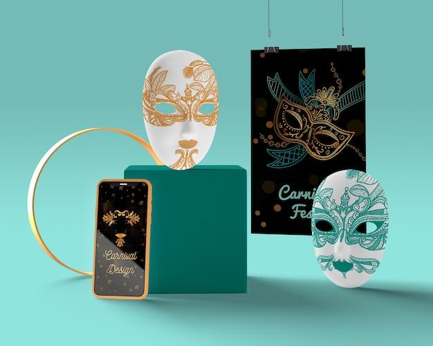 Móvil con anuncios de carnaval y máscaras PSD gratuito