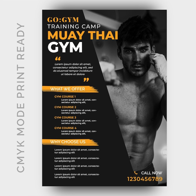 Muay thai fitness gym flyer ontwerpsjabloon Premium Psd