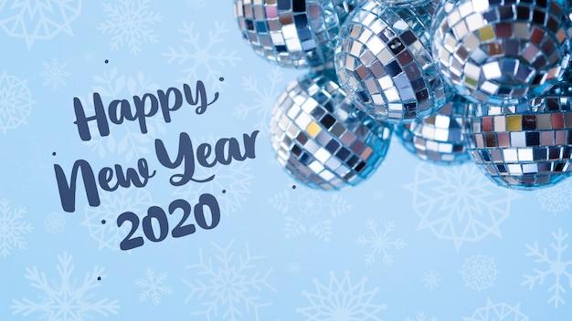 Mucchio delle palle d'argento di natale sul fondo blu del nuovo anno Psd Gratuite