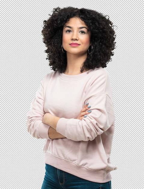 Mujer joven con los brazos cruzados. PSD Premium