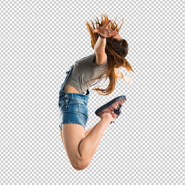 Mujer joven, saltar PSD Premium