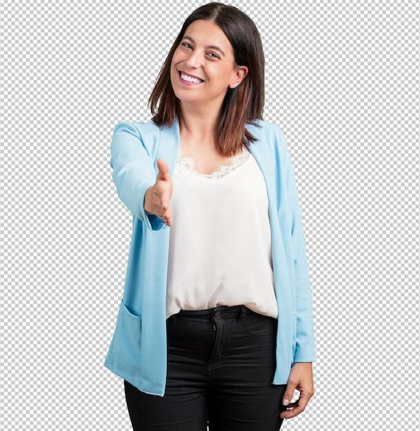 Mujer de mediana edad para saludar a alguien o gesticular para ayudar, feliz y emocionada. PSD Premium
