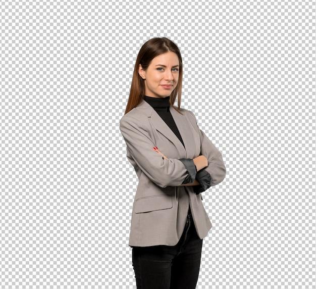 Mujer de negocios con los brazos cruzados y mirando hacia adelante PSD Premium