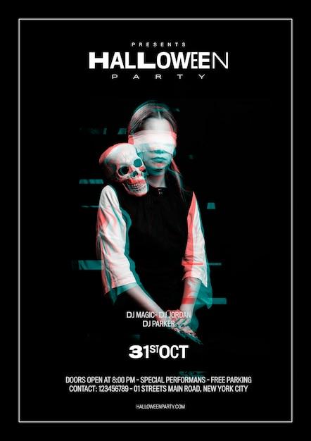 Mujer con los ojos vendados tiro medio de efecto glitch PSD gratuito