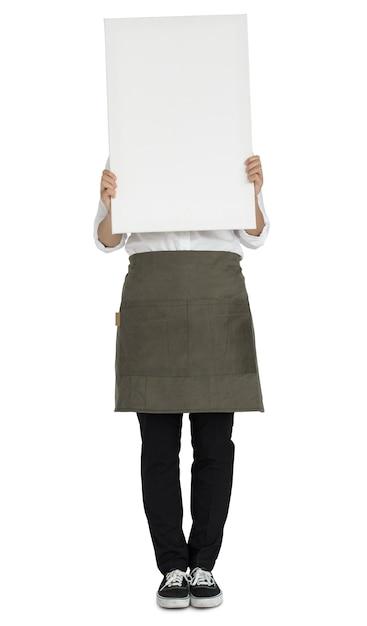 Mujer que sostiene el concepto de retrato de espacio de copia de banner PSD gratuito