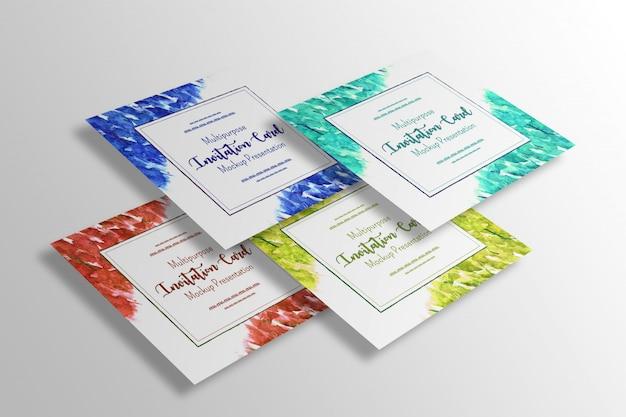 Multifunctionele vierkante mock-up presentatie voor een uitnodigingskaart Gratis Psd