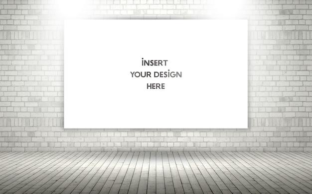 Muro de ladrillos a la vista 3d con lienzo en blanco maqueta PSD gratuito