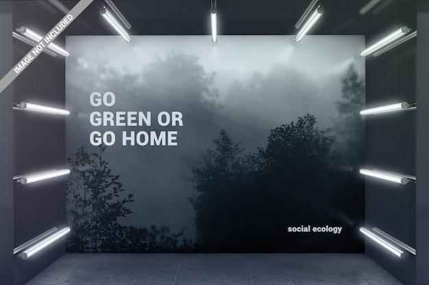 Muro en maqueta de sala de exposición brillante PSD Premium