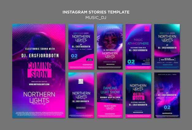 Music dj instagram stories PSD gratuito