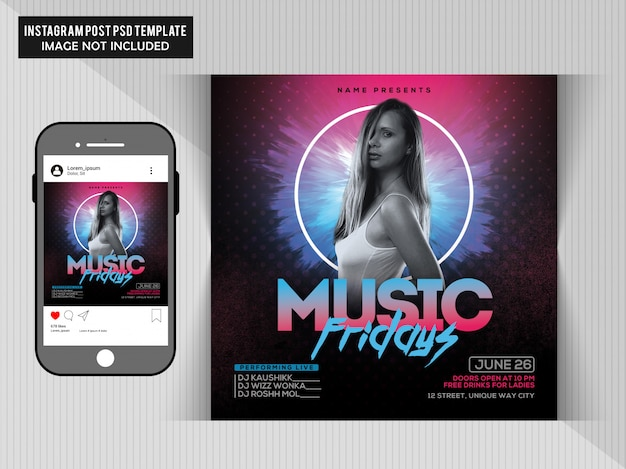 Music friday party flyer Psd Premium