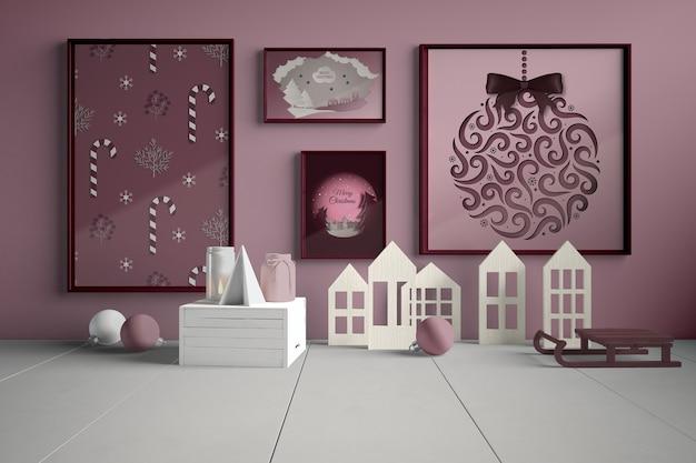 Muur met schilderij collectie voor kerstmis Gratis Psd