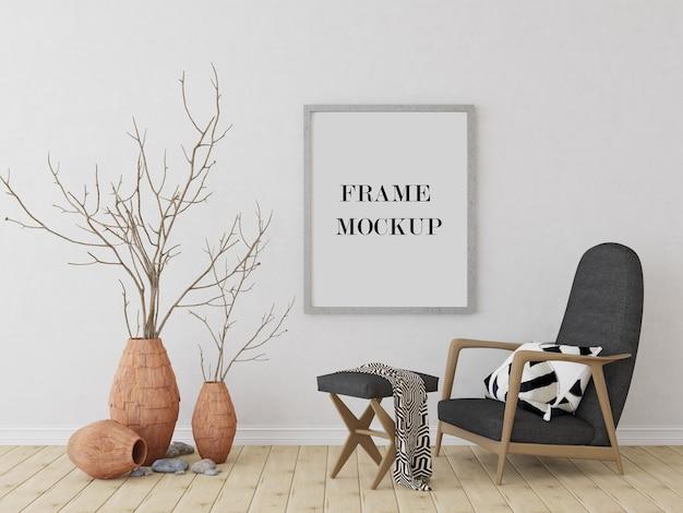 Muurframe in tribale stijl interieur 3d-rendering mockup Premium Psd
