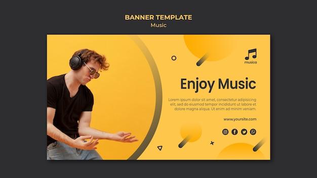 Muziek banner sjabloon thema Gratis Psd